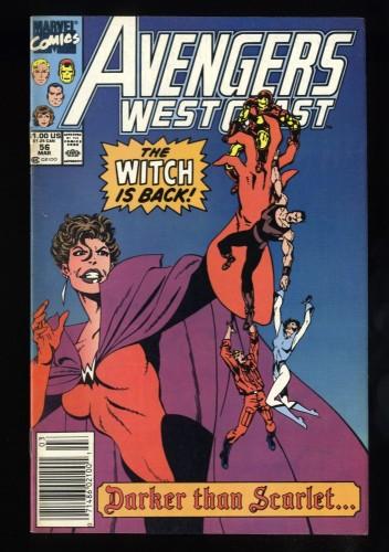 West Coast Avengers #56 VF 8.0 Newsstand Variant 1st Dark Scarlet Witch!
