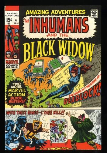 Amazing Adventures #4 FN/VF 7.0 White Pages Black Widow Inhumans!