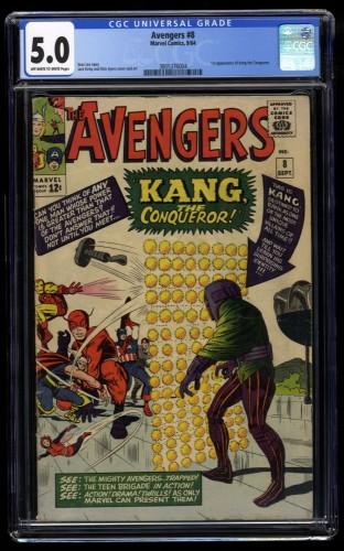 Avengers #8 CGC VG/FN 5.0 Off White to White 1st Kang!