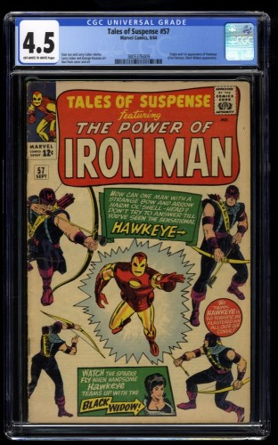 Tales Of Suspense #57 CGC VG+ 4.5 Off White to White 1st Hawkeye!