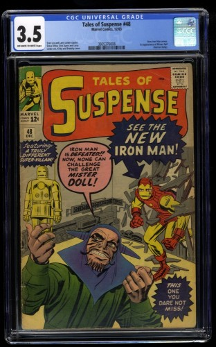 Tales Of Suspense #48 CGC VG- 3.5 Off White to White 1st Gold Armor!