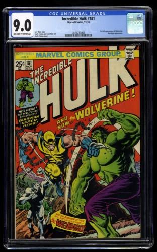 Incredible Hulk #181 CGC VF/NM 9.0 Off White to White 1st Wolverine!