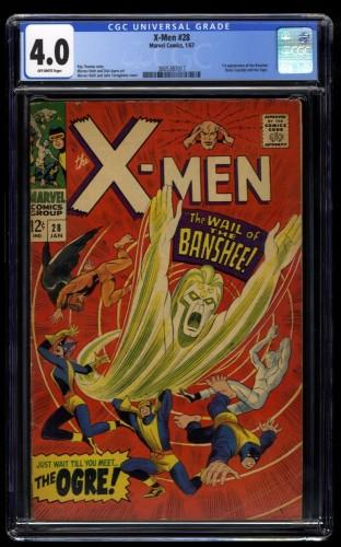 X-Men #28 CGC VG 4.0 Off White 1st Banshee!