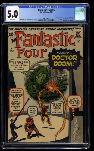 Fantastic Four #5 CGC VG/FN 5.0 White Pages 1st Doctor Doom!