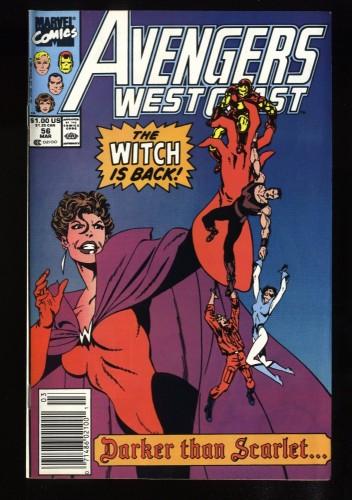 West Coast Avengers #56 VF/NM 9.0 Newsstand Variant 1st Dark Scarlet Witch!