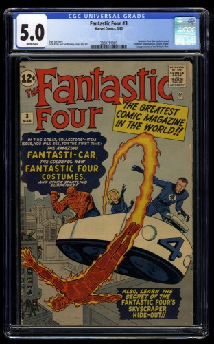 Fantastic Four #3 CGC VG/FN 5.0 White Pages