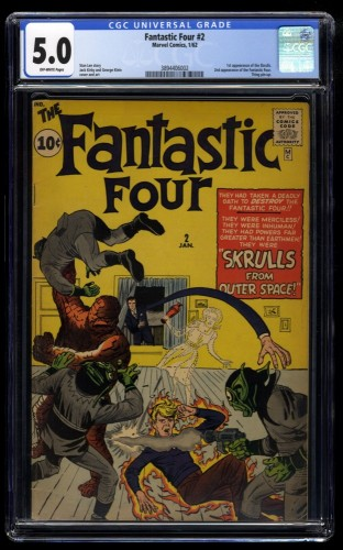 Fantastic Four #2 CGC VG/FN 5.0 Off White NO Marvel Chipping!