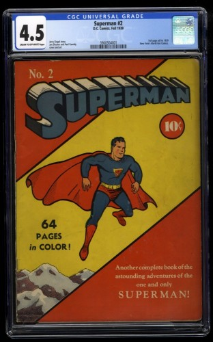 Superman #2 CGC VG+ 4.5 Cream To Off White