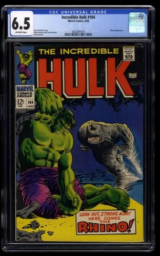 Incredible Hulk #104 CGC FN+ 6.5 Off White vs Rhino!