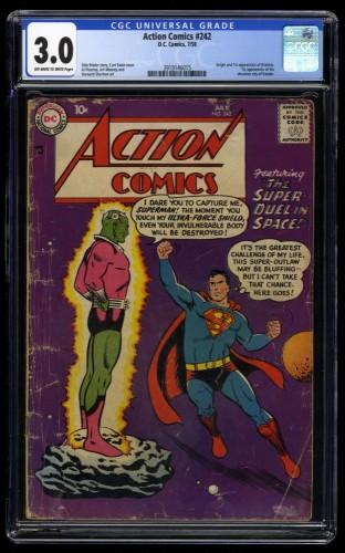 Action Comics #242 CGC GD/VG 3.0 Off White to White 1st Braniac!  Kandor!