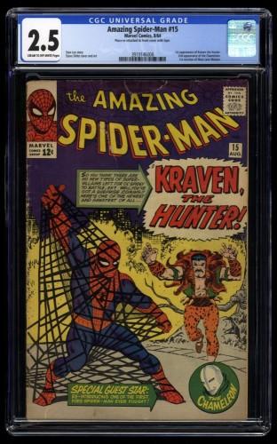 Amazing Spider-Man #15 CGC GD+ 2.5 Cream To Off White 1st Kraven the Hunter!
