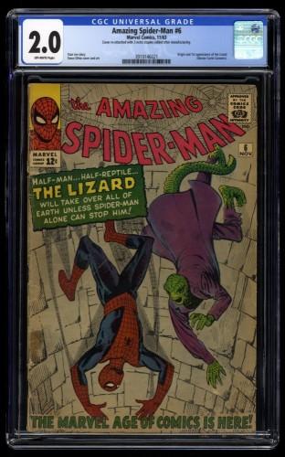 Amazing Spider-Man #6 CGC GD 2.0 Off White 1st Lizard!