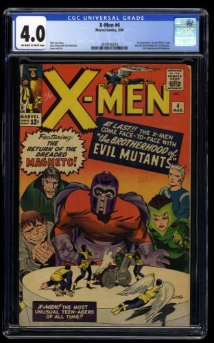X-Men #4 CGC VG 4.0 Off White to White 1st Scarlet and Qucksilver!