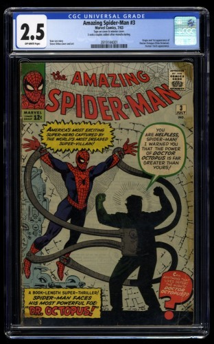 Amazing Spider-Man #3 CGC GD+ 2.5 Off White 1st Doctor Octopus!