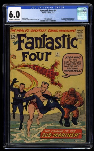 Fantastic Four #4 CGC FN 6.0 Off White to White 1st Silver Age Sub-Mariner!