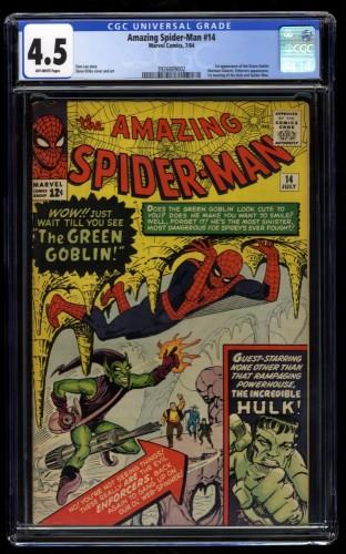Amazing Spider-Man #14 CGC VG+ 4.5 Off White 1st Green Goblin!