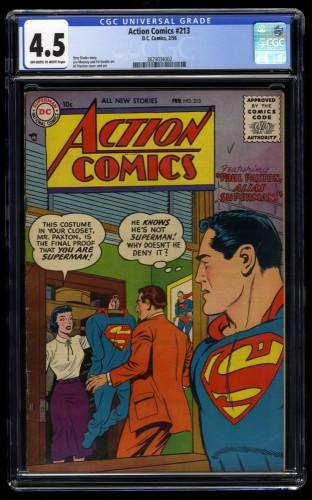 Action Comics #213 CGC VG+ 4.5 Off White to White Superman!