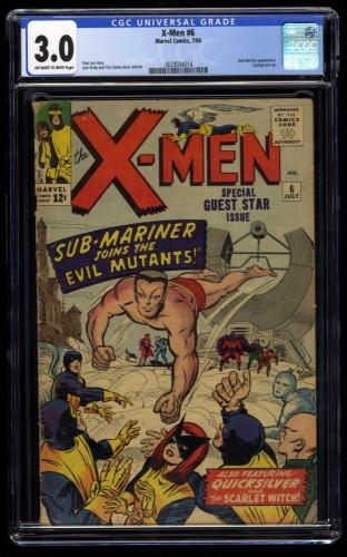 X-Men #6 CGC GD/VG 3.0 Off White to White Sub-Mariner!