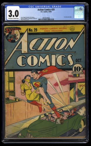Action Comics #29 CGC GD/VG 3.0 Off White to White 1st Lois Lane Cover!