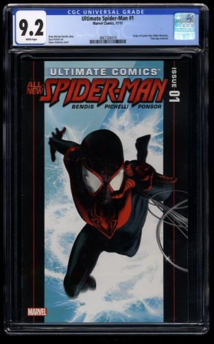 Ultimate Spider-Man (2011) #1 CGC NM- 9.2 White Pages Miles Morales!
