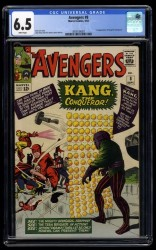 Avengers #8 CGC FN+ 6.5 White Pages 1st Kang!